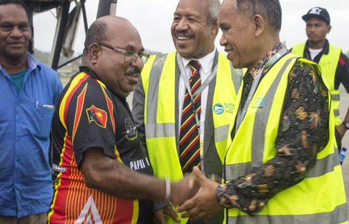 As Port Moresby's Governor Powes Parkop (middle) welcomed his counterpart from Indonesia's Papua province Lukas Enembe (left) in Papua New Guinea's capital, the Indonesian ambassador to PNG, Ronald Manik (right), also made an appearance. Photo: Wanpis Ako
