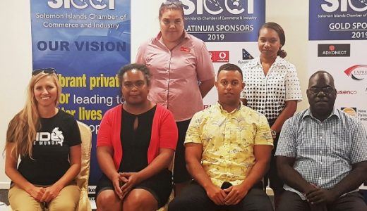Members of the newly elected SICCI Board. Front row (right to left) Vice Chairman, David Rupokets, Chairman, Jay Bartlett, SICCI CEO, Atenasi Ata, Belinda Botha. Standing: Uta Temahua (left) and Hilda Lamani.[Photo: SICCI]