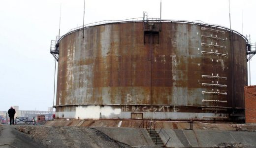 The source of the spill: Part of the power plant in Norilsk