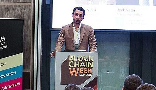 Day One Investments' Shane Ninai addresses a Blockchain event in London earlier this year.